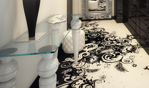 Декоративный 3D пол в интерьере квартиры