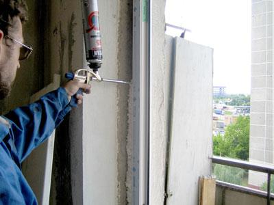 Запенивание окна изнутри