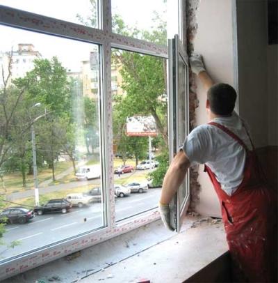 Навешивание створки окна