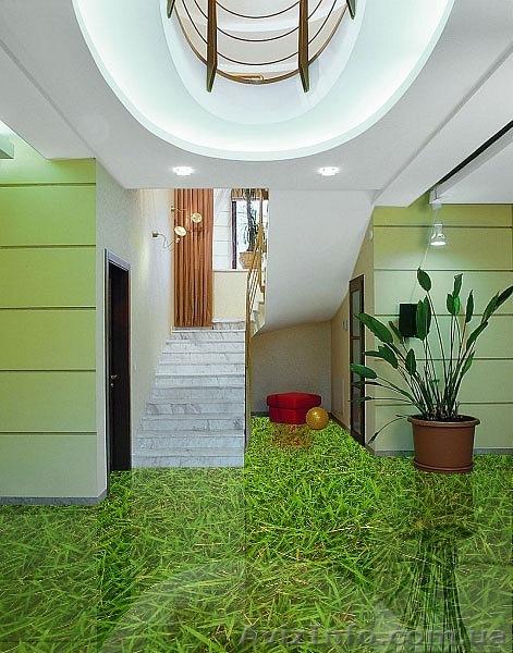 Травяное поле в 3D полу делает комнату уютной и очень красивой