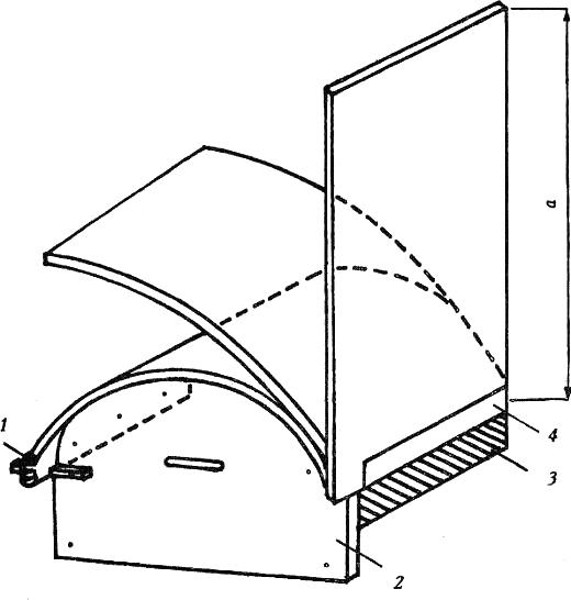 Рис. 1. Мокрый изгиб плит на шаблоне 1. обрешетка для фиксации плиты; 2. срезанная плита d=12,5 мм; 3. полоски из плит кнауф; 4. уголок или СД-профиль как опора плиты; а. изгиб в продольном направлении