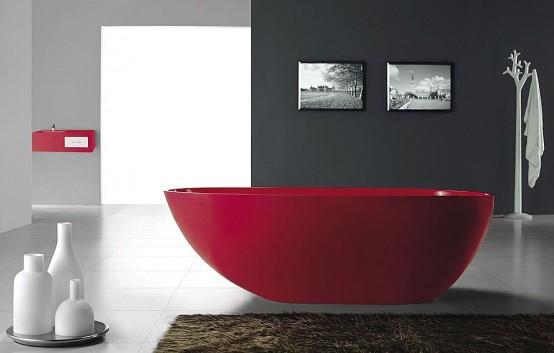 Акриловая ванна красного цвета