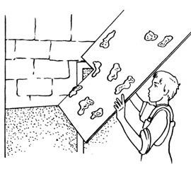 Крепление листа гипсокартона на стену