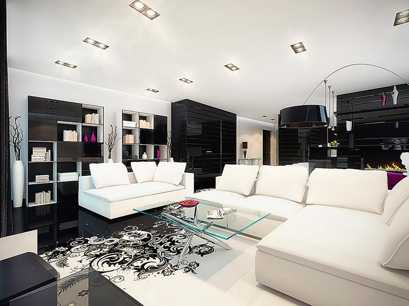 Правильное сочетание наливного 3D пола и мебели дает идеальный дизайн в интерьере квартиры