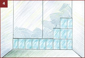 Укладка плитки в ванной от центра стены