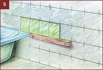 Укладка плитки от уровня ванны