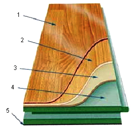 Разрез ламината 1. слой акрилатной или меламиновой смолы, 2. слой декоративной бумаги, 3. пленка, увеличивающая влагостойкость, 4. панель ДВП — основа ламината, 5. слой из влагостойкой бумаги
