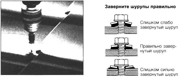 Правильное завенчивание самосверлящегося шурупа для металлочерепицы