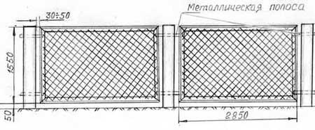 Монтаж полотна забора из сетки рабицы к столбам