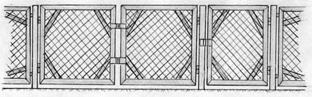Вариант исполнения ворот и калитки с использованием сетки рабицы